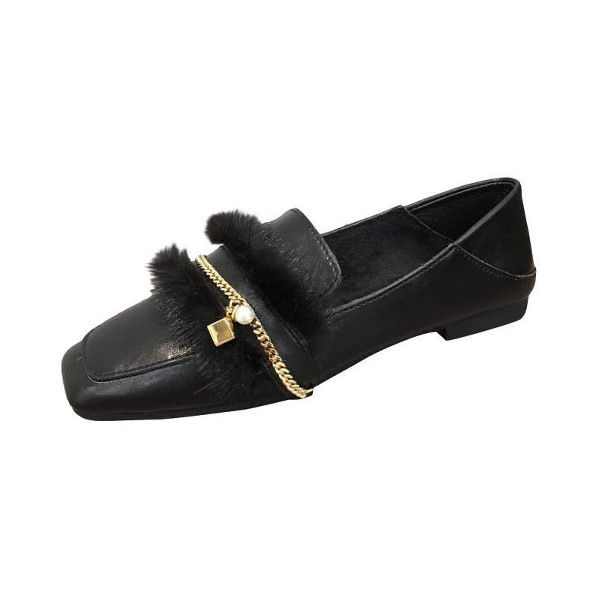 HBDLH Damenschuhe/EIN Pedal Herbst Am Kopf Flache Schuhe Metall - Kette Pearl Koreanischen Version Mode Schuhe
