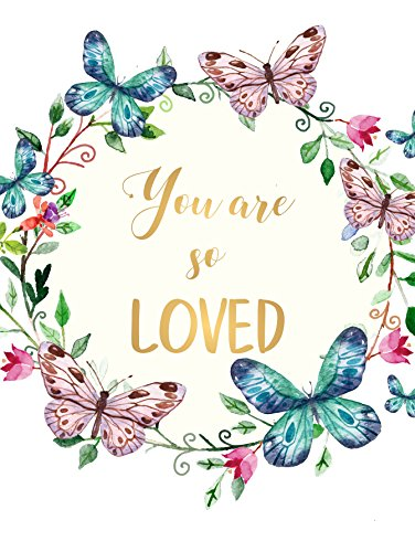 (You Are so Loved Wall Art Decor Floral Wreath Scripture Quote UNFRAMED POSTER A3 Gold)