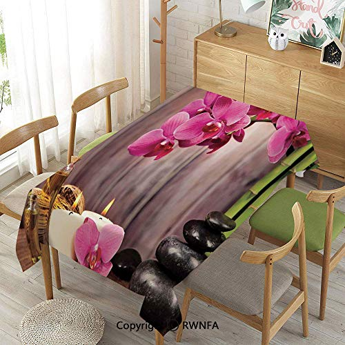 Homenon Decorative Rectangular Table Cloth,Spa Orchid Flowers Rocks Bamboo Asian Style Aromatherapy Massage Therapy Decorative,Waterproof Stain-Resistant,52