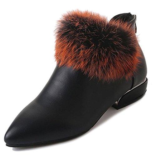 beige Mid combattere scarponi Calf Stivali Stivali inverno HSXZ donna Black nero Chunky marrone per Casual Scarpe punta tonda tallone pu qgwPIa