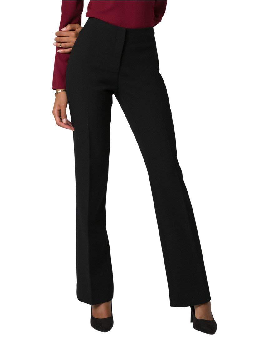 LE CHÂTEAU Women's Double Weave Slight Flare Leg Pant,1,Black