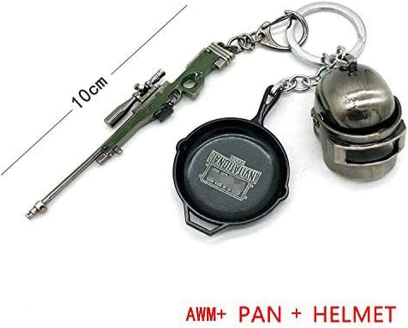 AWM+PAN+HELMET Duoles Miniature Metal Removable cartridge exquisite for PUBG KeyChain Accessories Keychain Charm Souvenir Gifts