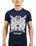 ROBERTO CAVALLI Navy Blue Tiger Logo Crewneck T-Shirt for Mens
