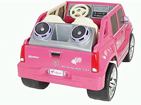 amazon com power wheels barbie pink cadillac escalade toys games power wheels barbie pink cadillac