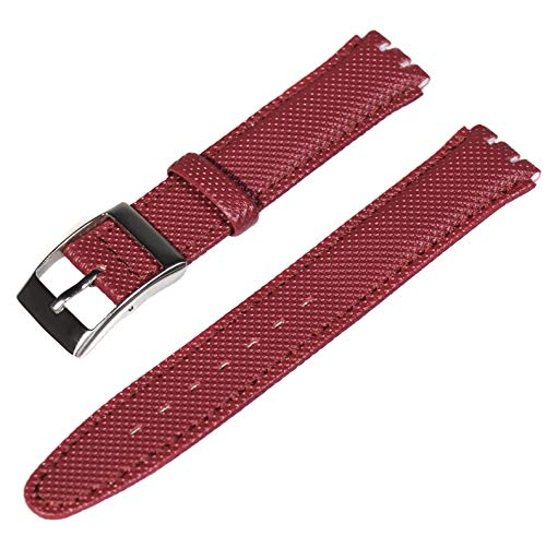 - Alin Swatch Replacement -17mm - Choose Color - Organic Plastic Coated Stitched - Watch Strap & Band (Claret Red)