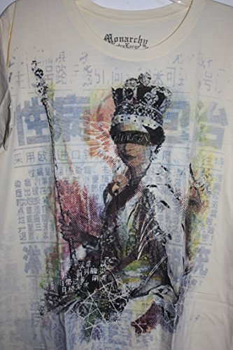 (Monarchy Los Angeles Yellow Crew Neck T Shirt Color Graphics 0f the Queen-Eyes Blocked -Large)