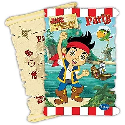 Coolmp 6 Tarjetas De Invitación Con Sobre Jake Y Los Piratas