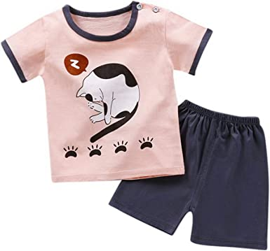 Summer for outfits baby boys girls cotton Tee /& short pants kids outfits cartoon