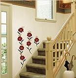 Jiniy RED FLOWER WALL ART DECOR Mural Decal STICKER(PS58059)