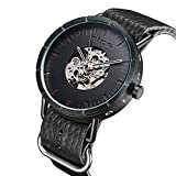 Mens Watch,Automatic Self-wind Mechanical Black Soft Genuine Leather Watch With Stainless Steel Durable Skeleton Case