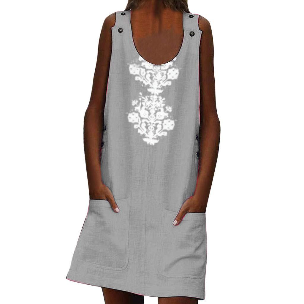 Women Linen Print O-Neck Sleeveless Dress Buttons Pockets Casual Dress Plus Size (Gray, M)