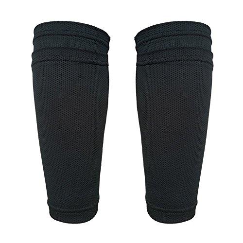 Senston Teenager Soccer Shin Pads Socks Kids Shin Guards Double Deck Socks Fixed Sleeve for Kids Juniors One Size Black