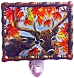 Continental Art Center NL0101 Hand Painted Glass with Night Light Deer, 5.2 by 5.6 by 1.6-Inch