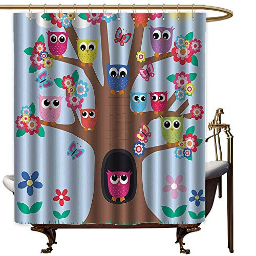 Large Shower Curtain,Owl Decor Cute Owls on Tree BFF Best Friends Forever Home Accent Design for Friendship Brown Green Blue Yellow Multicolor,goof Proof Shower,W36x72L,
