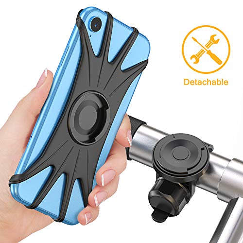 Bovon Detachable Bike Phone Mount, Universal Adjustable Handlebar Accessories, [All Screen Friendly] Bicycle Motorcycle Phone Holder for iPhone XR/XS/XS Max/8/8Plus, Samsung S10Plus/S10/S10e/Note 9/S9