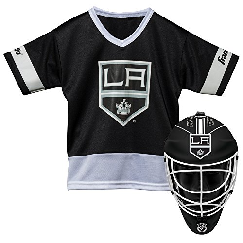 Franklin Sports Los Angeles Kings Kid's Hockey Costume Set - Youth Jersey & Goalie Mask - Halloween Fan Outfit - NHL Official Licensed Product - Mini Hockey Goalie Mask