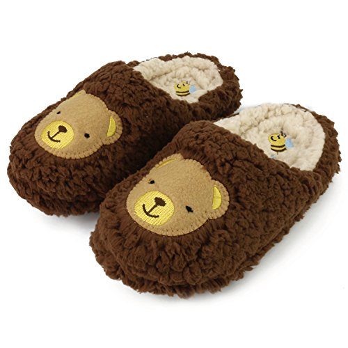 Komyufa Women Fur House Slippers Cozy Animal Home Slipper Fuzzy Bedroom Shoes Indoor Outdoor(XL/ 8.5-9 B(M) US, Dark-Brown Teddy Bear) (Women Slippers House For Bear)