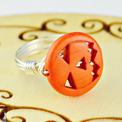 Twist Costume Jack (Halloween Jack-O-Lantern Pumpkin Bead and Sterling Silver or Gold Filled Wire Wrapped Ring- Made to size 4)