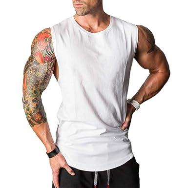 JiXuan Bodybuilding Gyms Gilet Casual Hommes sans Manches Fitness Slim Fit Débardeurs  Gilet Workout Débardeurs pour ff223b194bd