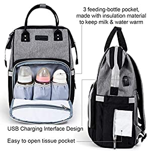 Diaper Bag Backpack Nappy Bag Upsimples Baby Bags for Mom and Dad Maternity Diaper Bag with USB Charging Port Stroller…