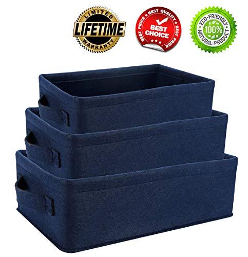 (Storage Baskets Set Rectangle Storage Basket Bins Soft Low Storage Baskets for Shelves Cubby Laundry Playroom Closet Clothes Shoe Baby Toy Storage Baskets Navy Blue 3 Piece)