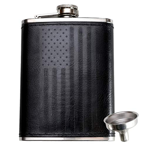 (Leather Flask with American Flag by Home Aggressive - 8 Ounce - 18-8 304 Stainless Steel Black Leather Wrap Hip Flask with Funnel for Liquor Whiskey Alcohol Wine or Bourbon - Slim Curved)