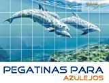 Pegatinas para azulejos Delfines en el baño de agua tamaño de azulejo 20x10cm (Número de azulejos = 7 de ancho 9 alto)