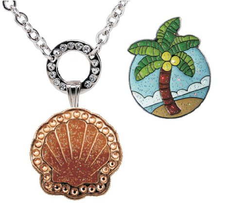 (Navika Magnetic Necklace with Swarovski Crystal Bronze Sea Shell and Glitzy Palm Tree Ball Markers)