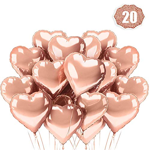 LAKIND 18 inch rose gold heart balloons Foil Mylar Love Balloons for Wedding Decoration Party Balloons Birthday,Pack of 20
