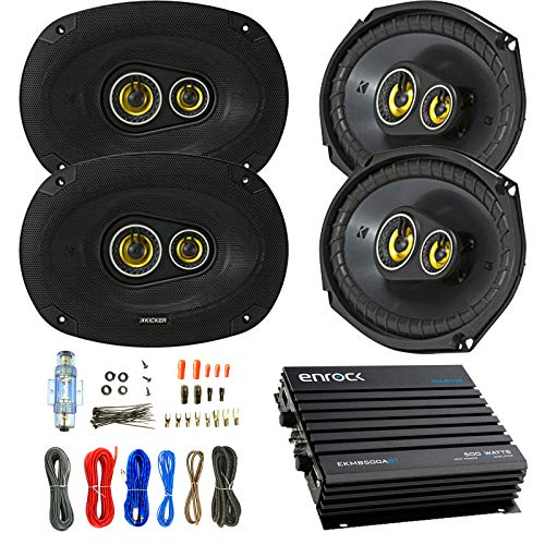 - Car Speaker and Amp Combo: 4x Kicker CSC6934 900-Watt 6