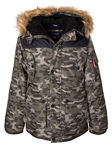 Sportoli Boys' Heavy Fleece Lined Winter Puffer Parka Coat Jacket Fur Trim Hood - Green Camo (Size 8)