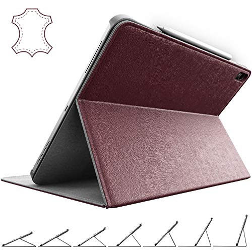 - iPad Pro 12.9 Case 2018 Genuine Leather - Stands at Any Angle - with Apple Pencil Holder - Best for 3rd Generation 12.9 inch (Oxblood)