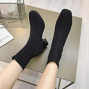 Shukun Botines Botines Zapatos Zapatos de Mujer Gruesos con Calcetines Botas Tacones Altos Botas elásticas Martin