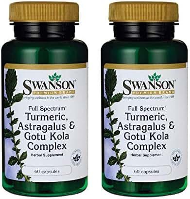 Swanson Full Spectrum Turmeric Astragalus & Gotu Kola Complex 60 Capsules (2 Pack)