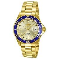 Invicta - Reloj de acero inoxidable chapado en ión dorado con esfera de oro 18k Pro 14124 de Invicta para hombres