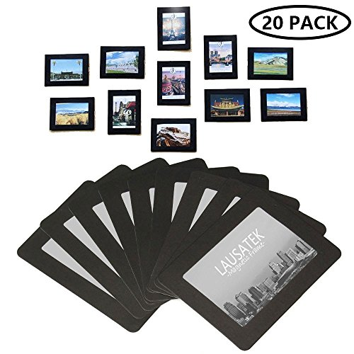 Lausatek Magnetic Picture Frame, Photo Collage for Refrigerator, Magnet Board Decor, Black, Holds 4x6, 3.5x5, 3x4, 2.5x3.5 Inches Photos, 20 Pack (Refrigerator Magnet Frame)