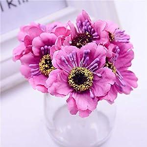 GSD2FF 6pcs 3.5cm Mini Silk Cherry Artificial Bouquet DIY Handmade Tattoo Wreath Scrapbook Wedding Decoration Craft 53