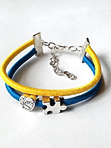 Autism Awareness Bracelet Blue And Yellow Bungee Stretch Love Heart Charm 6-8 Inch Jewelry.