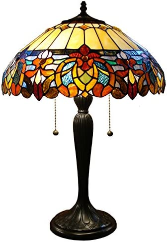 Fine Art Lighting Tiffany 426 Cuts of Stained Glass and 16-Piece Cabochons on Table Lamp, 16 by 25-Inch