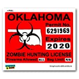 Oklahoma OK Zombie Hunting License Permit Red - Biohazard Response Team - Window Bumper Locker Sticker