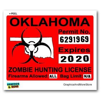 Oklahoma OK Zombie Hunting License Permit Red - Biohazard Response Team - Window Bumper Locker Sticker