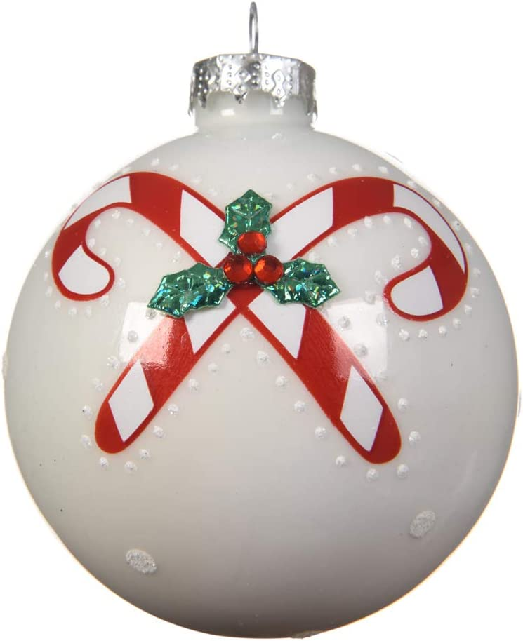 060973 – Pack de 3 Unidades Pelotas de Navidad de Cristal Blancos con Decoraciones Rojas 8 cm: Amazon.es: Hogar