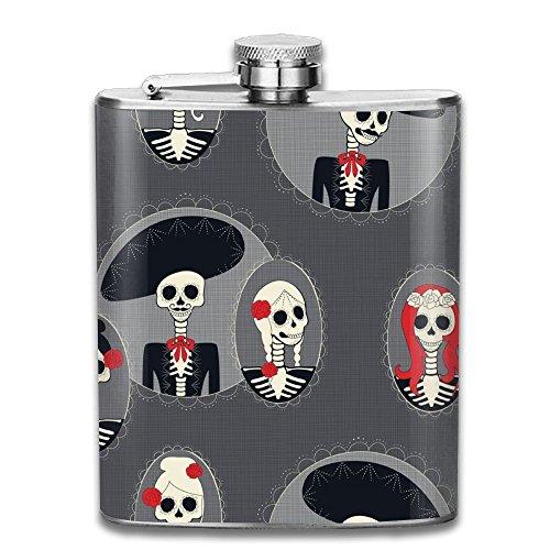 Stainless Steel Leak Proof Liquor Flasks Dia De Los Muertos Design (Dia Satin Pewter Antique)