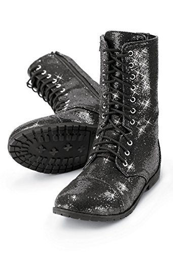 Balera Boots Girls Shoes For Dance Womens Combat Boots With Glitter And Zipper Rubber Sole Shoes (Dance Zipper)