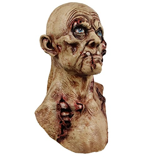 Scary Zombie Masks (Creepy Scary Zombie Mask Bloody Rotten face Walking Dead Costume Latex Virus Horror Mask Suit Halloween)