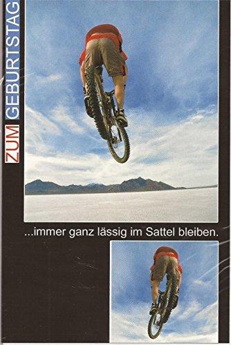 Geburtstagskarte Klappkarte Zum Geburtstag - Mountainbike - Immer ganz lässig im Sattel bleiben! | SERIE Geburtstagskarten für Freunde