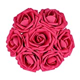 Febou Artificial Flowers, 50pcs Real Touch Artificial Foam Roses Decoration DIY for Wedding Bridesmaid Bridal Bouquets Centerpieces, Party Decoration, Home Display, Office Decor (Deep Pink)