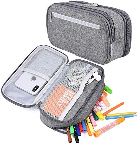 Big Capacity Pencil Case Pen Case Pencil Bag Pouch Pencil Holder Marker Stationery Desk Organizer Pencil Cases with Zipper Large Storage for Boys Girls College Middle School & Office Supplies, Gray