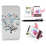 LG G3 Case, iYCK Premium PU Leather Flip Folio Carrying Magnetic Closure Protective Shell Wallet Case Cover for LG G3 with Kickstand Stand - Butterfly Floral Tree