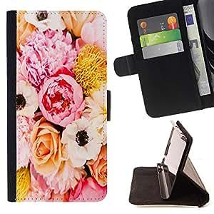 - Rose Pink Flower Romantic Love Heart - - Monedero PU titular de la tarjeta de cr?dito de cuero cubierta de la caja de la bolsa FOR Samsung Galaxy S5 V SM-G900 Retro Candy